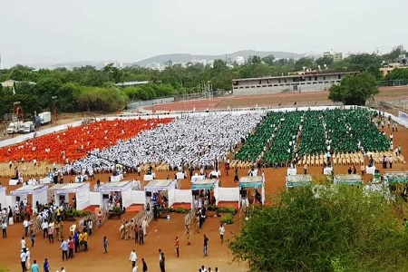 NSS Volunteers gathered in Tiranga form